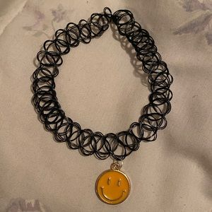 Happy smiley face tattoo choker necklace